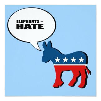 """Elefantes = odio invitación 5.25"""" x 5.25"""""""