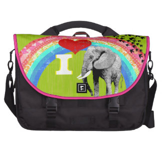 Elefantes personalizados del corazón del arco iris bolsas de portatil