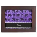 Elefantes púrpuras conocidos personalizados del br caja de recuerdos