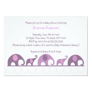 """Elefantes púrpuras de la berenjena en fiesta de invitación 5"""" x 7"""""""