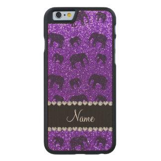 Elefantes púrpuras personalizados del brillo del funda de iPhone 6 carved® slim de arce