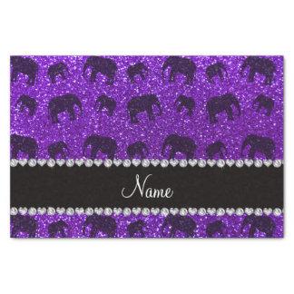 Elefantes púrpuras personalizados del brillo del papel de seda pequeño