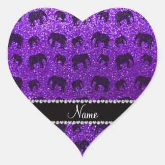 Elefantes púrpuras personalizados del brillo del pegatina en forma de corazón