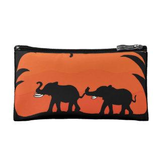 Elefantes que caminan en bolso del cosmético de la