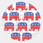 Elefantes republicanos desconcertados pegatina redonda