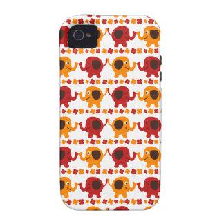 Elefantes rojos y anaranjados lindos que sostienen iPhone 4/4S carcasa