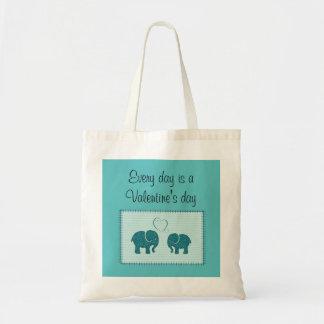 Elefantes románticos lindos de moda en remiendo bolsa tela barata