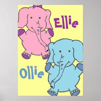Elefantes rosa y azul poster