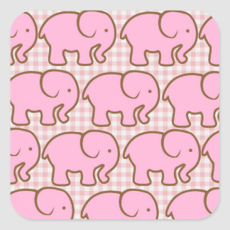 Elefantes rosados bonitos en modelo rosado de la calcomanías cuadradass personalizadas