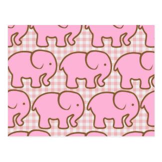 Elefantes rosados bonitos en modelo rosado de la postal