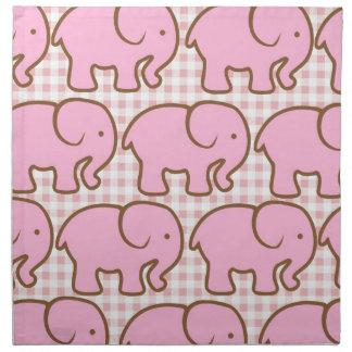 Elefantes rosados bonitos en modelo rosado de la t servilletas de papel