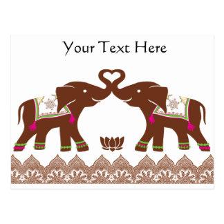 Elefantes rosados del amor de la alheña tarjetas postales