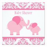 Elefantes rosados invitación 13,3 cm x 13,3cm