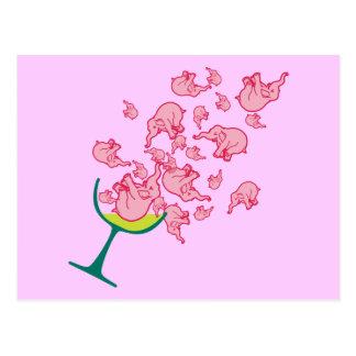 Elefantes rosados postales
