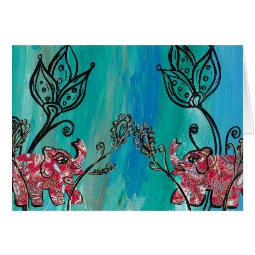 Elefantes rosados tarjeton