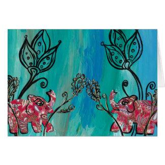 Elefantes rosados tarjeta de felicitación