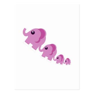 Elefantes rosados tarjeta postal