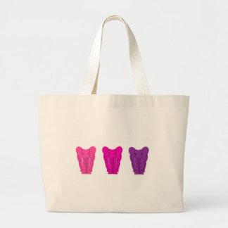 Elefantes rosados triples bolsa tela grande