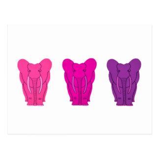 Elefantes rosados triples postales