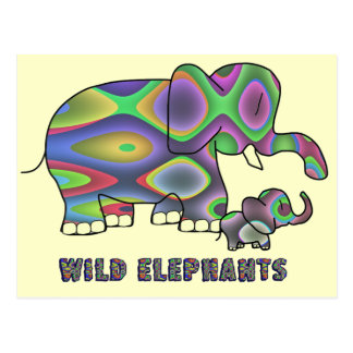 Elefantes salvajes postal