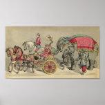 Elefantes y caballos del circo impresiones