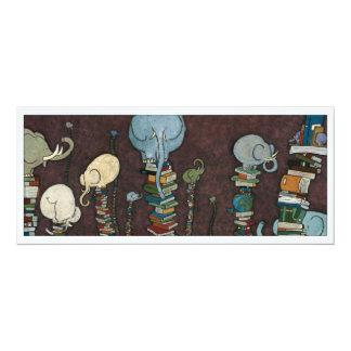 """Elefantes y libros invitación 4"""" x 9.25"""""""