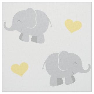 Elefantes y modelo el | de los corazones amarillo telas
