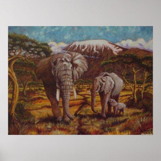 Elefantes y poster de la bella arte de Kilimanjaro