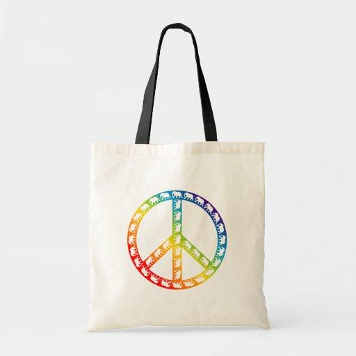 Elefantes y símbolo de paz bolsa tela barata