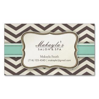 Elegan Modern Brown Chevron Pattern, Green & Beige Magnetic Business Card