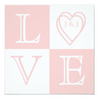 "Elegan Monogram Pink Wedding Invitation Front 5.25"" Square Invitation Card"