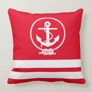 Elegan Nautical Anchor and Stripes Pattern Throw Pillow