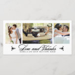 """Elegance Collage   Wedding Thank You Photo Card<br><div class=""""desc"""">3 Photo Collage Elegant Wedding Thank You Photo Card. Elke Clarke&#169; at www.zazzle.com/epclarke*. Beautiful handwriting script text with &quot;Love and Thanks&quot;. Other colors available.</div>"""