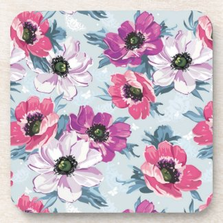 Elegance color flowers pattern on blue coasters