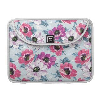 Elegance color flowers pattern on blue sleeves for MacBook pro