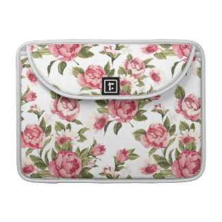 Elegance color peony pattern on white sleeves for MacBooks