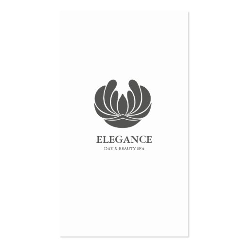 ELEGANCE FLOWER DESIGN SPA WELLNESS GREY WHITE BUSINESS CARD TEMPLATES
