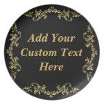 Elegance In Decorative Gold On Black Plate