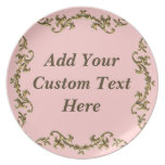Elegance In Decorative Gold On Pink Plate