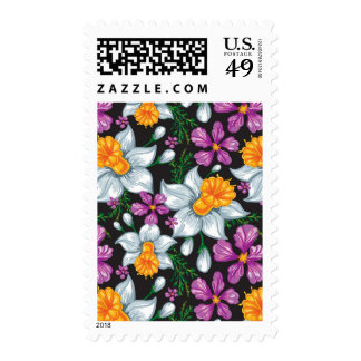 Elegance pattern with narcissus flowers 2 postage