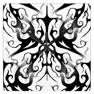 Elegance Tribal Tattoo Digital Collage Square Wall Clocks