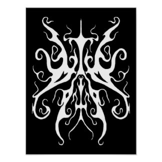 Elegance Tribal Tattoo - white on black Poster