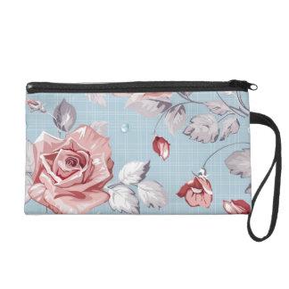 Elegance wallpaper pattern of pink roses 2 wristlet purse
