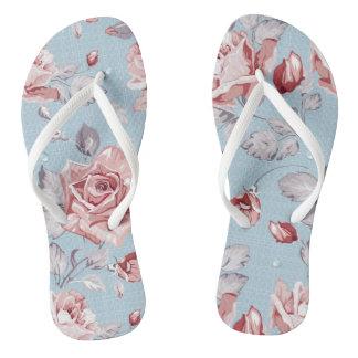 Elegance wallpaper pattern of pink roses 2 flip flops