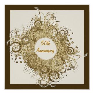 Elegance Wreath Golden Anniversary Party Invitatio 5.25x5.25 Square Paper Invitation Card