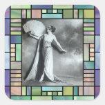 Elegancia 1 del vintage pegatina cuadradas