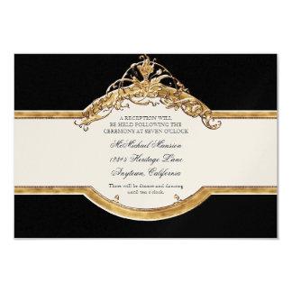 """Elegancia 2, recepción nupcial de oro del lazo invitación 3.5"""" x 5"""""""