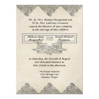 """Elegancia 3 del lazo negro - damasco de plata del invitación 6.5"""" x 8.75"""""""