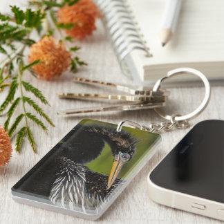 Elegancia aviar llavero rectangular acrílico a doble cara