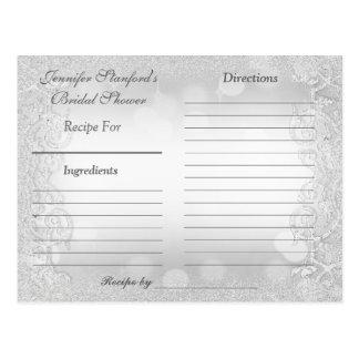 Elegancia de plata de la tarjeta el | de la receta postales